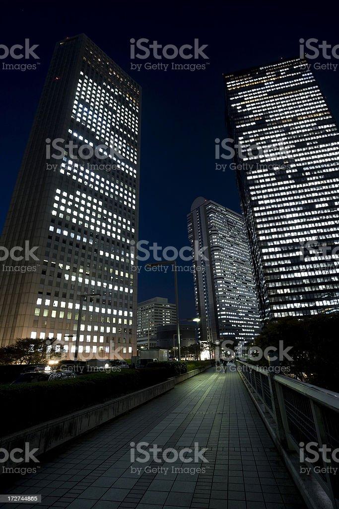 Tokyo walkway at night stock photo