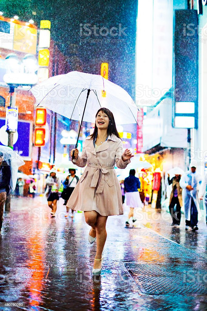 Tokyo Woman in the Rain stock photo