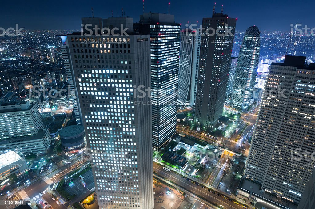 Tokyo's largest skyscraper district at night stock photo