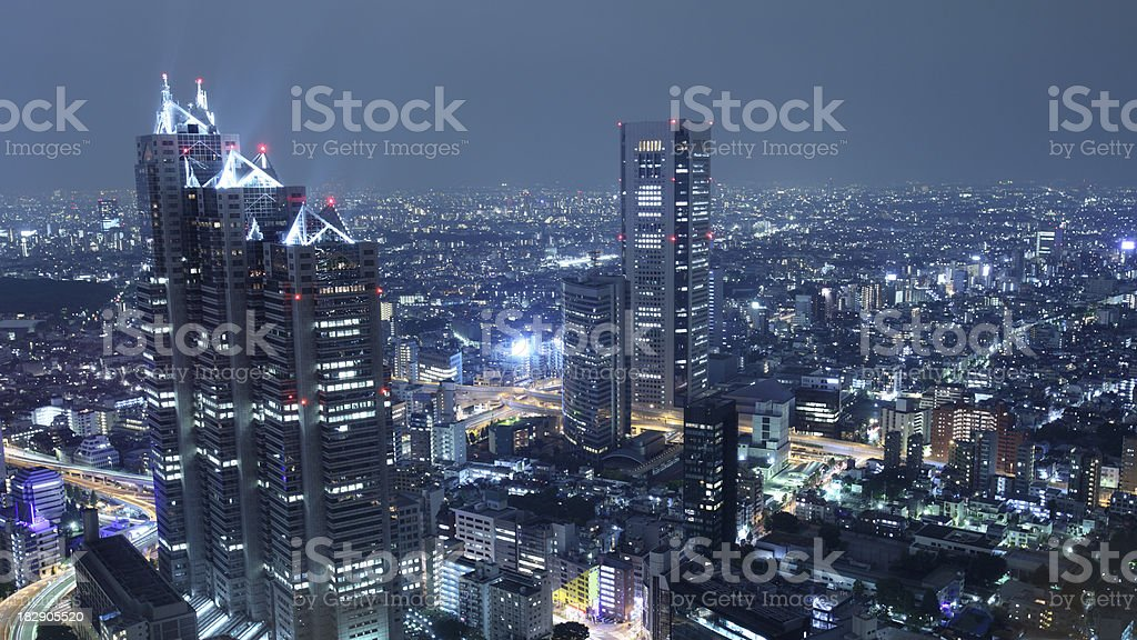 Tokyo's skyscraper district at night royalty-free stock photo