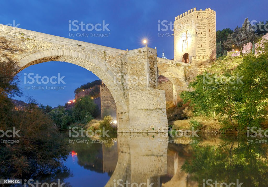 Toledo. Alcantara Bridge at night. stock photo