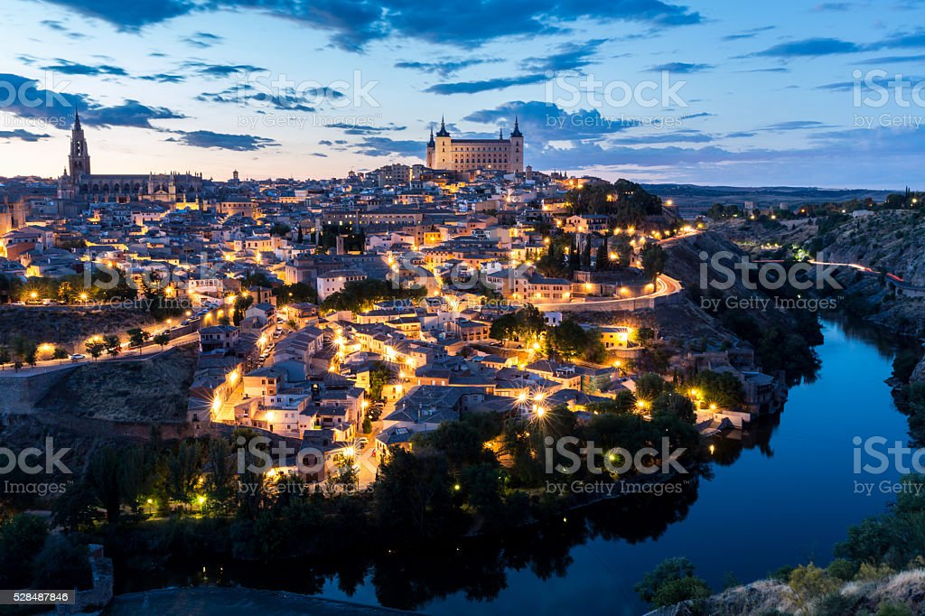 Toledo at dusk Spain stock photo