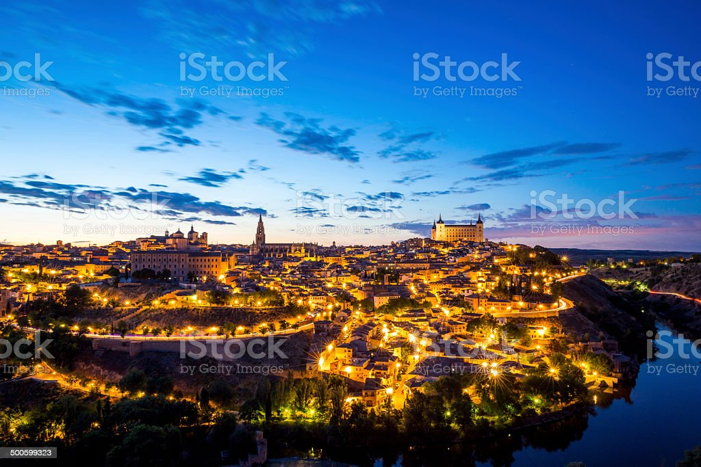 Toledo Cityscape at dusk stock photo