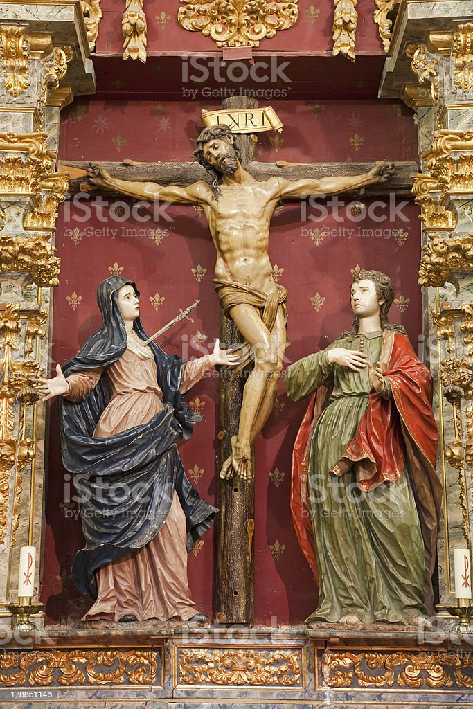Toledo - Crucifixion on Carvary baroque statue royalty-free stock photo