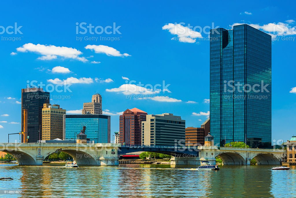 Toledo downtown skyline and river stock photo