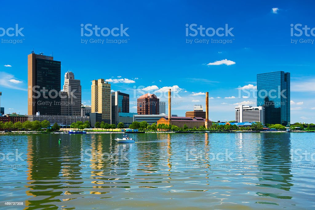 Toledo downtown skyline with reflection on Maumee River stock photo