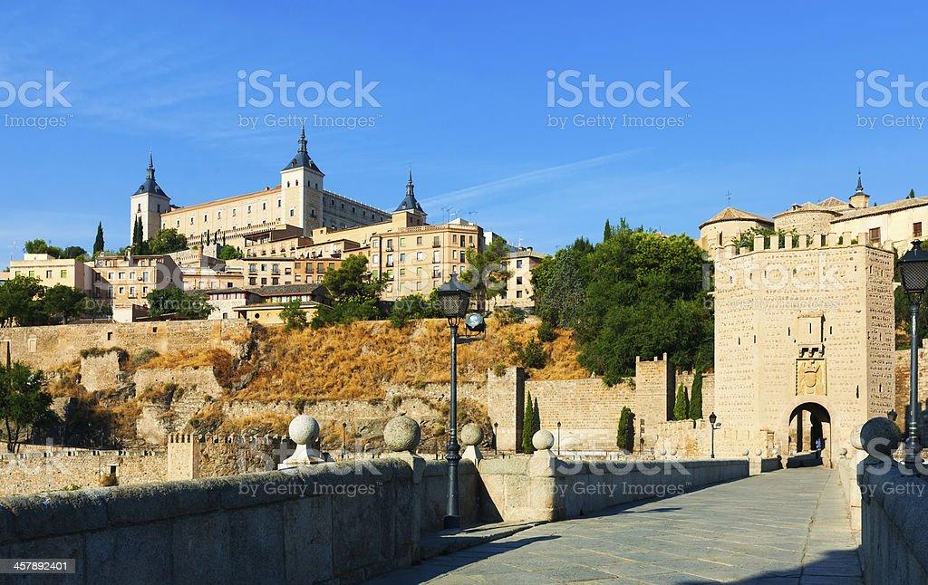 Toledo from Puente of Alcantara stock photo