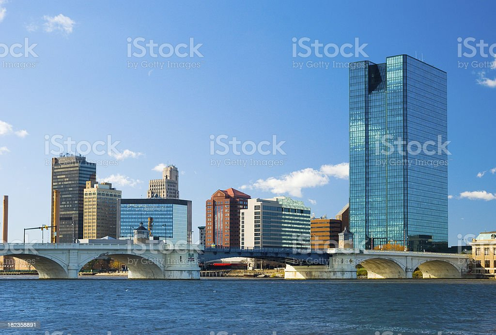 Toledo, OH skyline and bridge stock photo