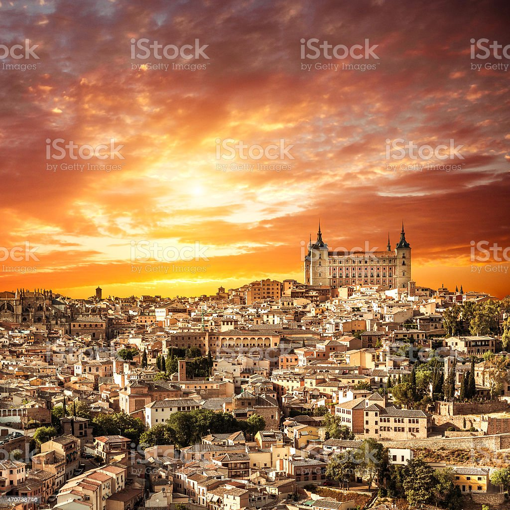 Toledo over sunset. medieval town stock photo