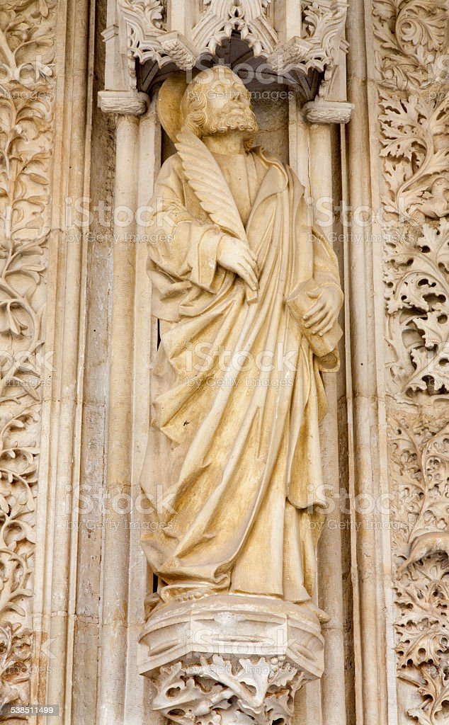 Toledo - Saint John the Evangelist statue stock photo