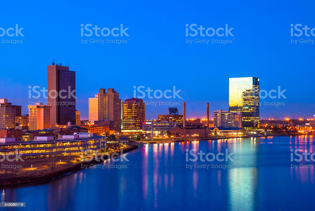 Toledo skyline and Maumee River Aerial at Dusk stock photo