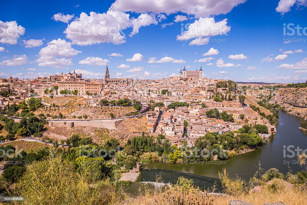 Toledo, Spain old town city skyline. stock photo