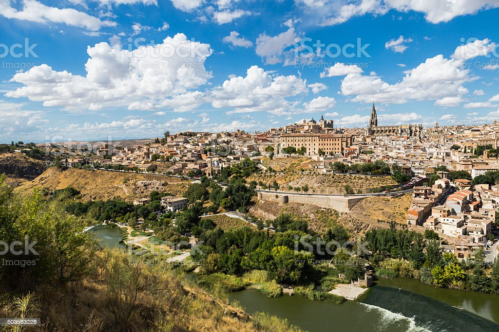Toledo, Spain old town cityscape at the Alcazar. stock photo