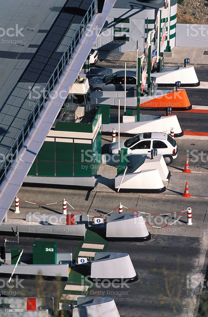 Toll booth in France stock photo