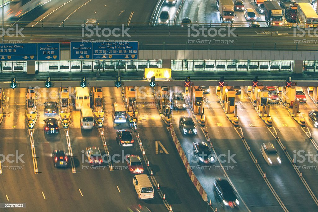 Toll Booth in Hong Kong at night stock photo