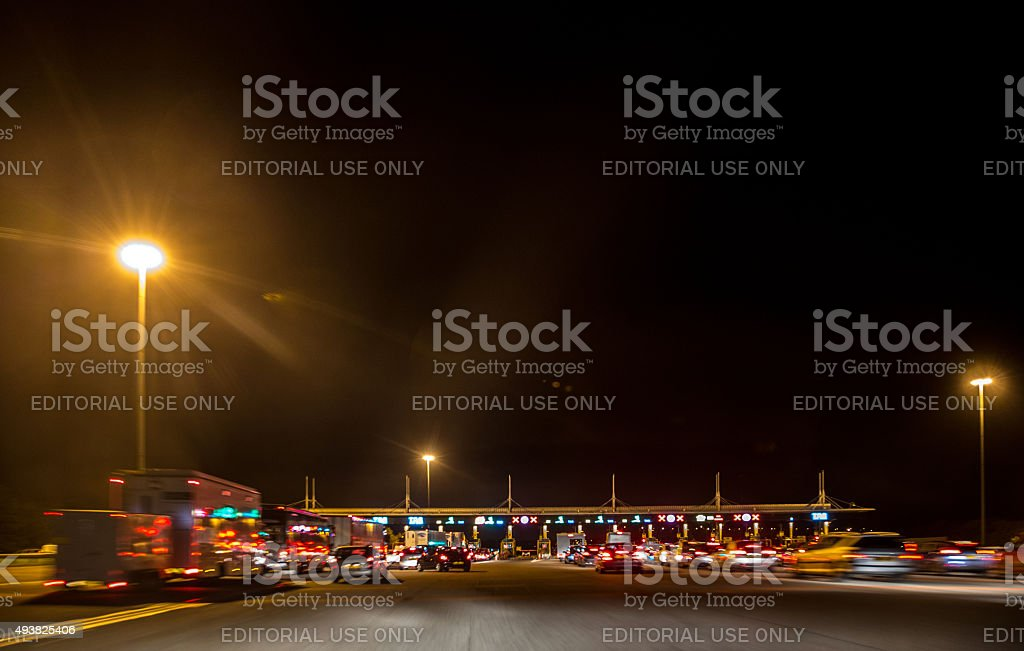Toll booth plaza on the Westbound Severn Bridge stock photo