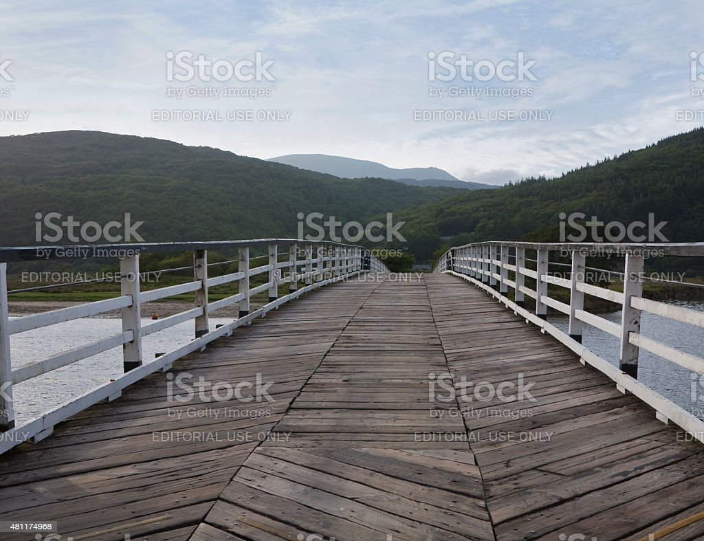 Toll Bridge over the River Mawddach stock photo