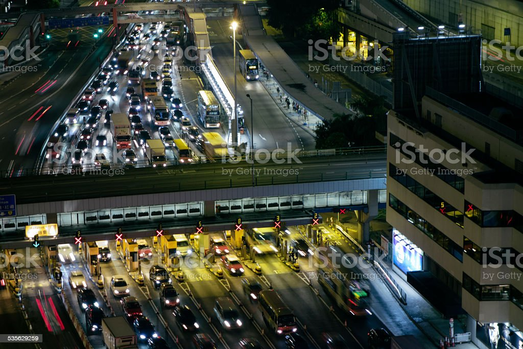 Toll gates, Hong Kong, aerial view stock photo