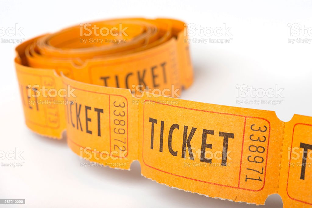 Toll of vintage tickets stock photo