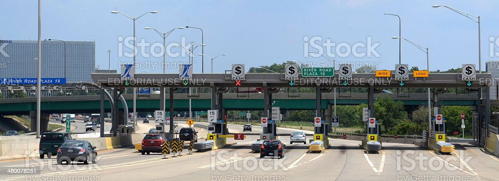 Toll plaza at River Road, near Chicago stock photo