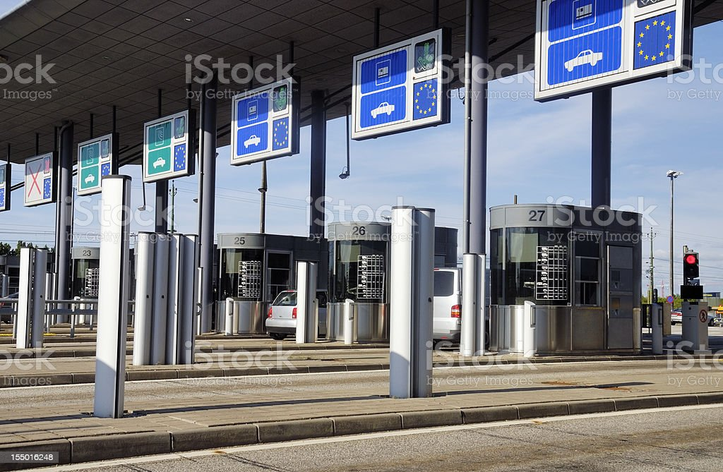 Toll road between Denmark and Sweden stock photo