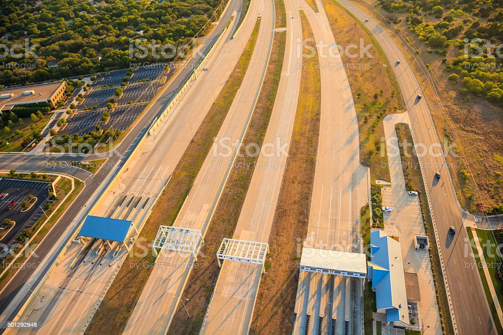 toll road highway near Austin Texas, aerial view stock photo