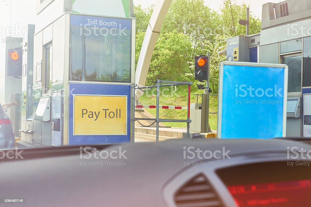 Toll road pay booth stock photo