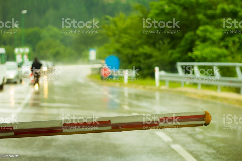 Toll road. Pessengers control. Ramp. Customs. stock photo