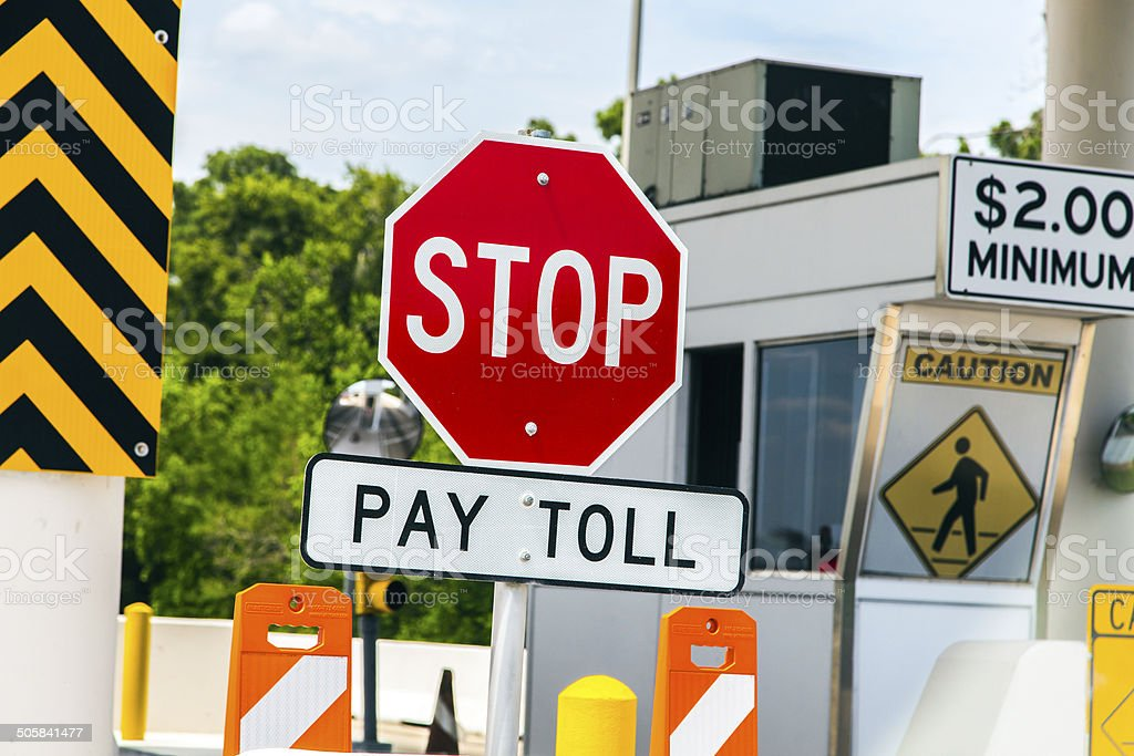 Toll Road sign at a toll bridge in Texas stock photo