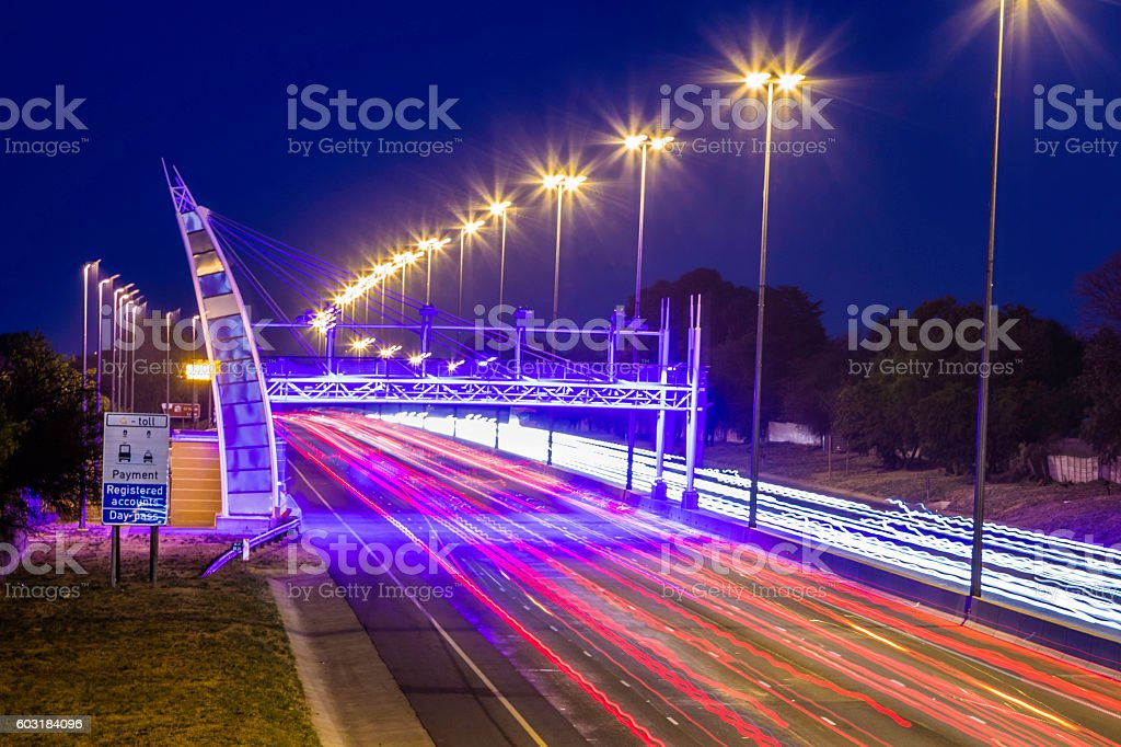 Tolling gates on the Western bypass highway stock photo
