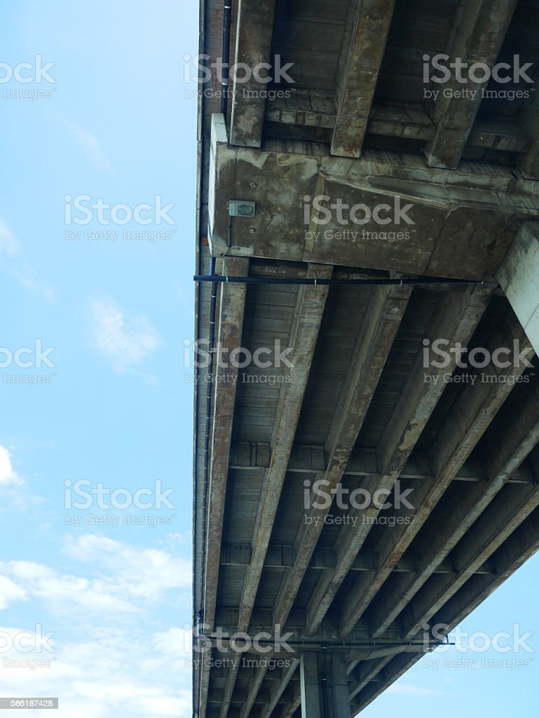 Tollway and blue sky from frog's eye view stock photo