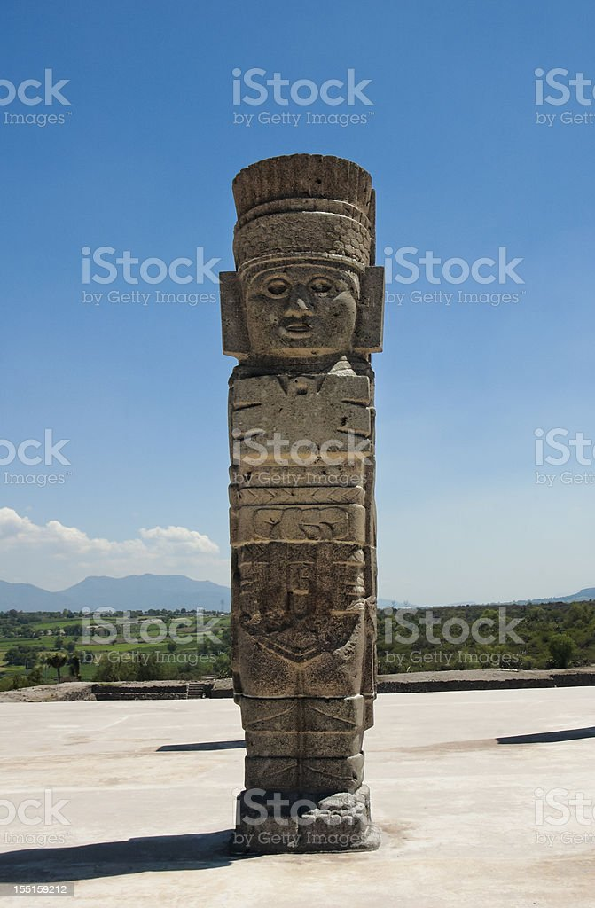 Toltec temple ruins in Tula, Mexico stock photo
