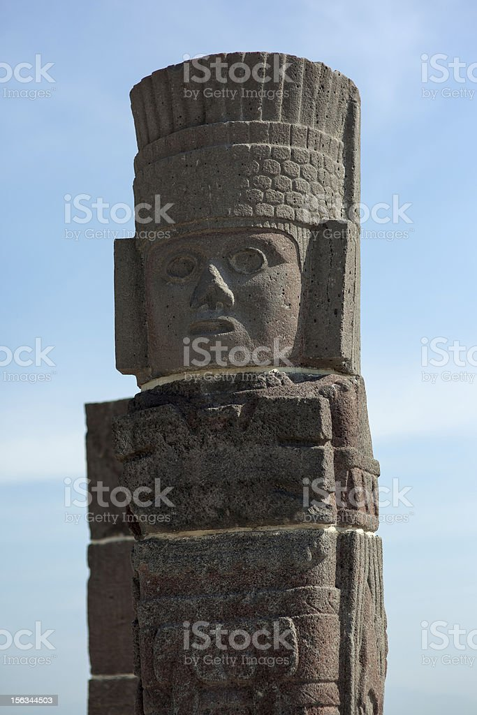 Toltec warriors. Detail. Ancient ruins of Tula de Allende royalty-free stock photo