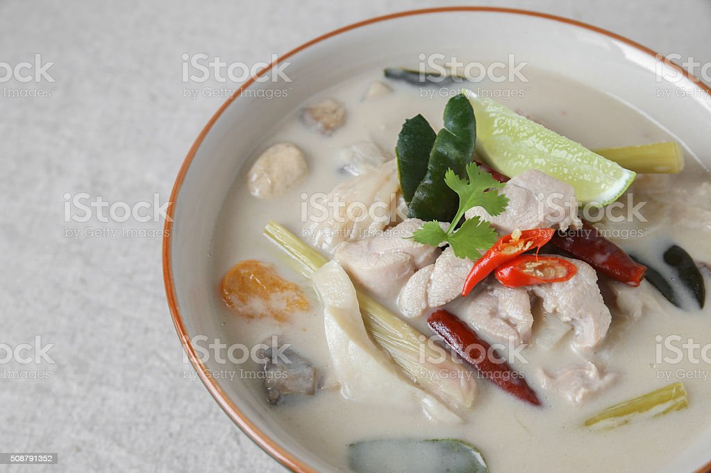 Tom Kha Gai , Thai Galangal chicken coconut soup stock photo