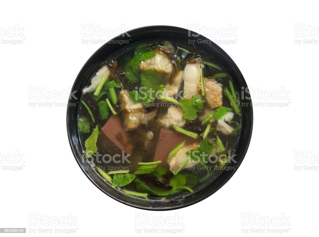 'Tom Lued Moo' Thai Style Blood Jelly with Offal Soup stock photo