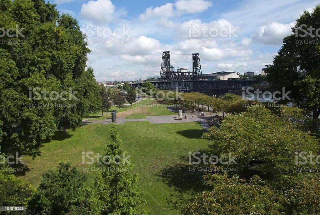Tom McCall Park and the Steel Bridge stock photo