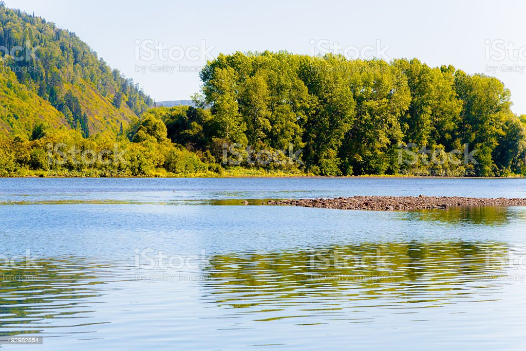 Tom' River in Siberia stock photo