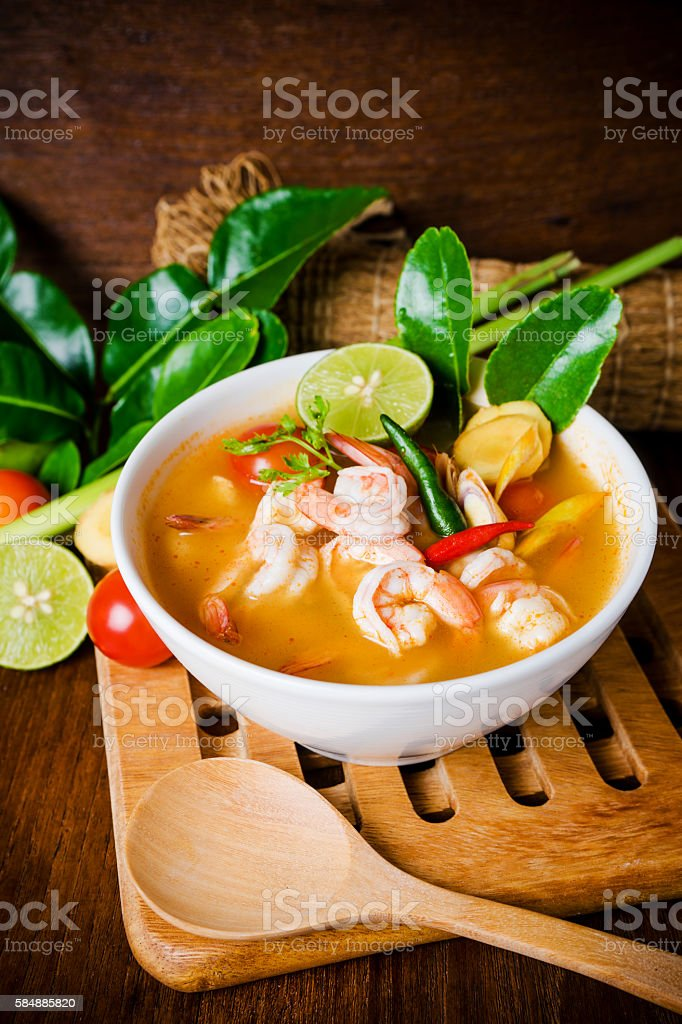Tom yam kong or Tom yum soup. Thai food. stock photo