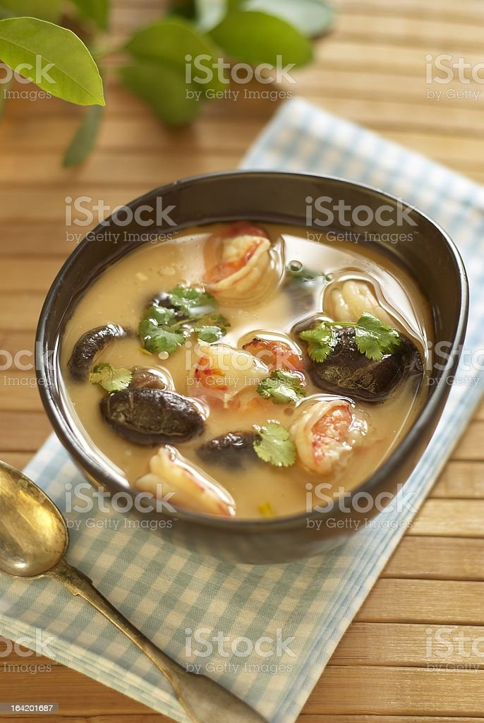 Tom yam soup with shrimps, mushrooms and coconut milk royalty-free stock photo