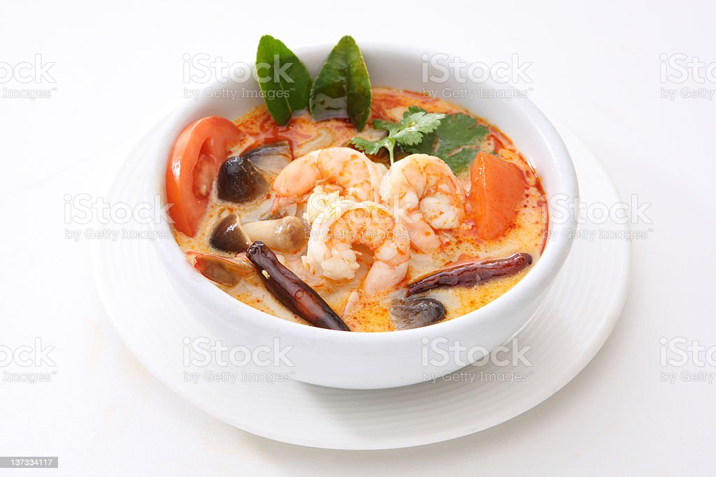 Tom Yum Goong (Spicy Shrimp Soup) stock photo