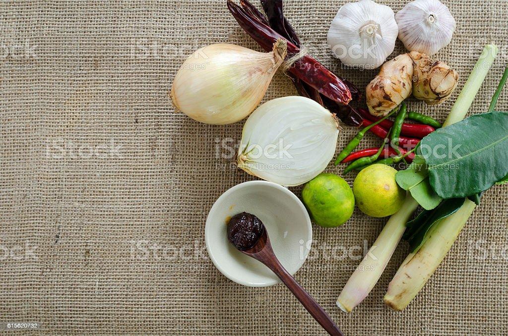 tom yum herbal ingredients,Thai food stock photo