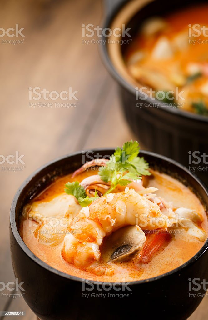 Tom Yum Kroong Soup stock photo