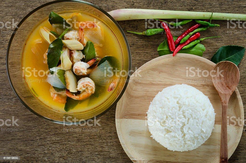 Tom yum Kung or Sour prawn soup,thai food stock photo