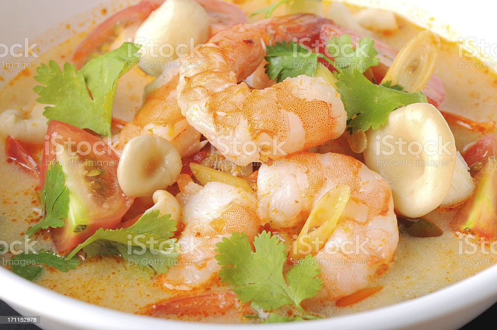 Tom Yum Kung or sup of shrimp on white bowl stock photo