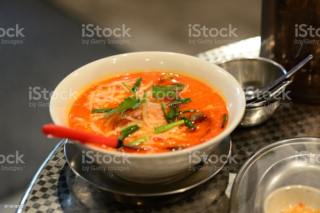 Tom yum noodle soup stock photo