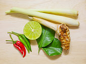 Tom yum or Thai spicy and sour soup ingredients