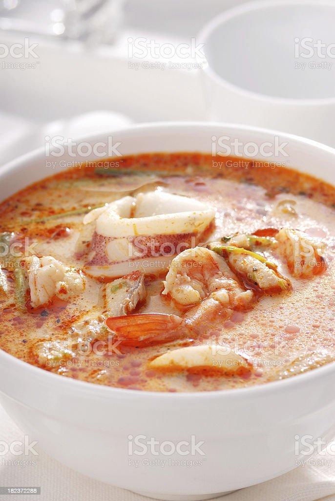 Tom Yum Soup on White background. stock photo