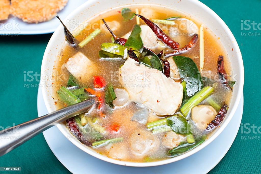 tom yum soup ,Thai style Spicy soup with fish stock photo