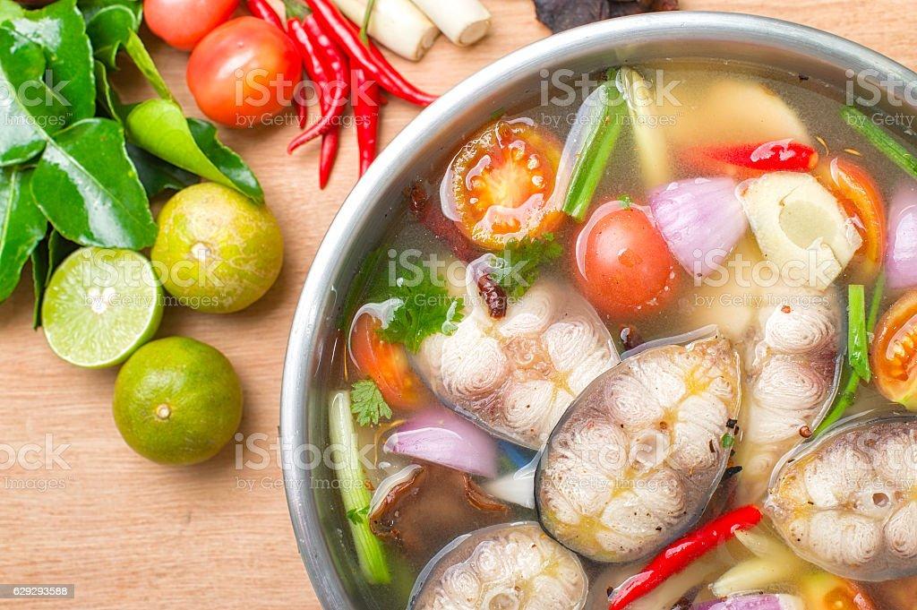 Tom yum, Thai Spicy Fish soup stock photo