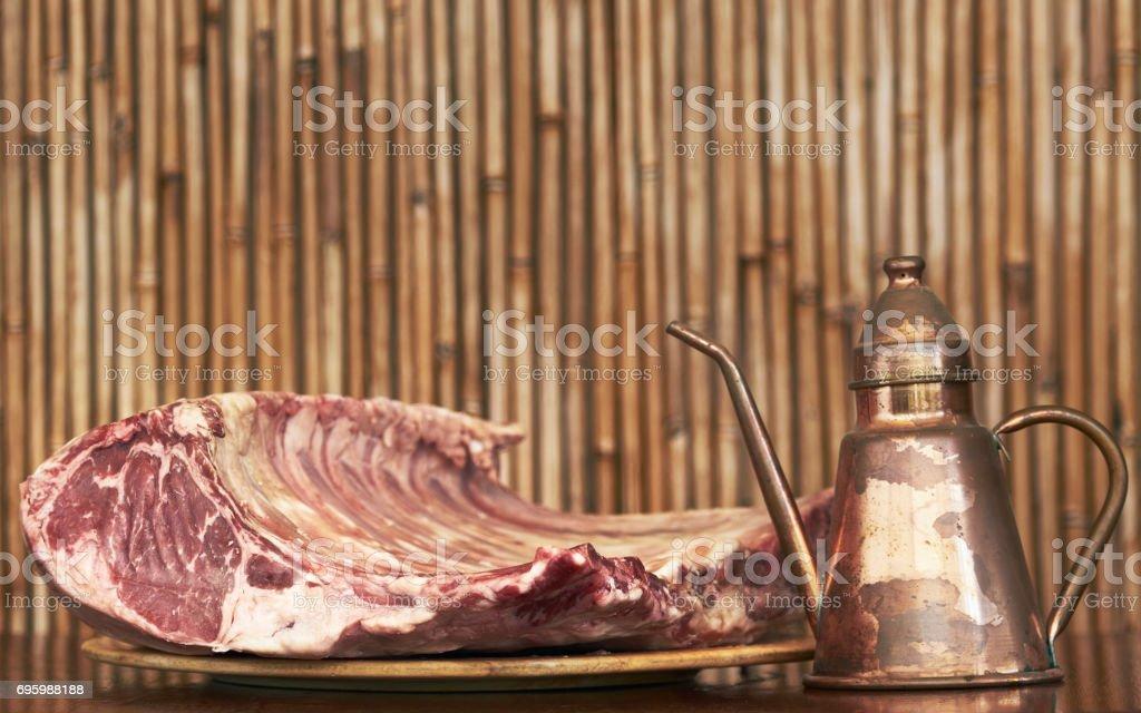 Tomahawk of Black Angus beef from Arkansas stock photo
